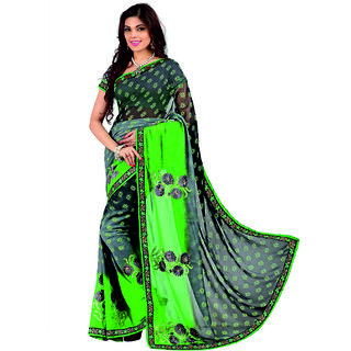 SuratTex Black Georgette Printed Saree With Blouse