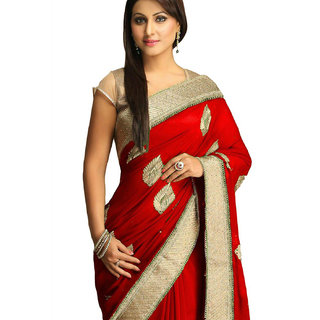 SuratTex Red Georgette Embroidered Saree With Blouse