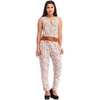 Snoby White Lycra Printed Jumpsuit SBY3018