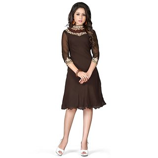 Fabdeal Brown Colored Georgette Embroidered Kurti