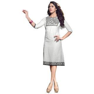 Fabdeal White Colored Linen Embroidered Kurti