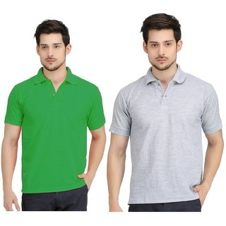 Gorgehot  Plain Multi Polo T shirts Pack of 2 ideal for Mens
