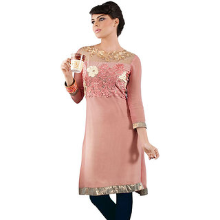 Fabdeal Peach Colored Viscose Georgette Kurti