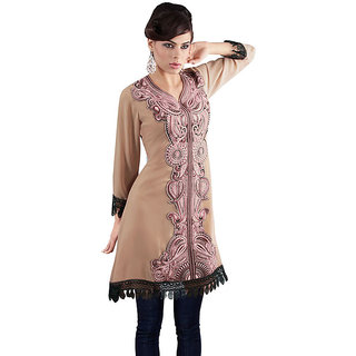 Fabdeal Brown Colored Georgette Kurti