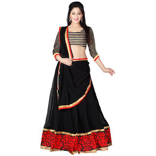 Ambaji Black Color Party Wear Georgette Lehenga Choli