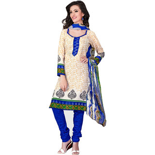 Khushali Presents Cotton Chudidar Dress Material(Cream,Blue)