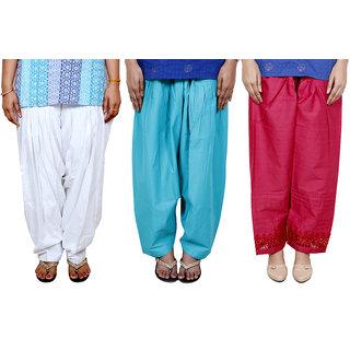 Indistar Women's Cotton Patiala Salwar Combo (Pack of 3 Salwar)