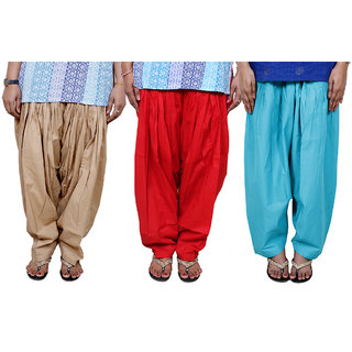 Indistar Women's Cotton Patiala Salwar Combo (Pack of 3 Salwar)