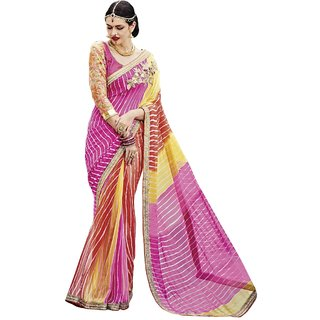 Aagaman Fashion Graceful Multi Colored Printed Georgette Chiffon Saree 2011