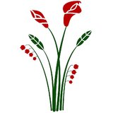 Chipakk Bunch Of Flowers 2 - Red Wall Decal (Medium)