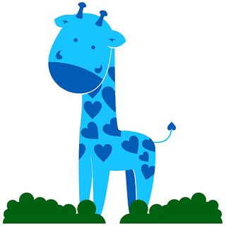 Chipakk Giraffe-Blue Wall Decal (Small)