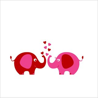 Chipakk Elephant Pair-Pink Wall Decal (Medium)