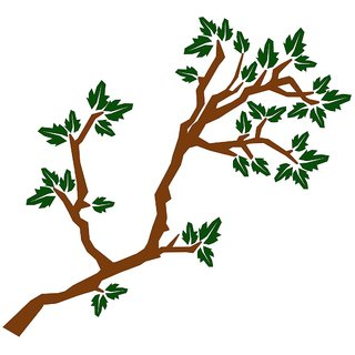Chipakk Leafy Branch 2 - Green Wall Sticker (Medium)