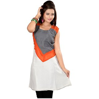 Fabdeal White Colored Georgette Plain Kurti