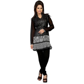 Fabdeal Black Colored Georgette Plain Kurti