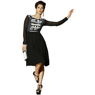 Fabdeal Black Colored Georgette Embroidered Kurti