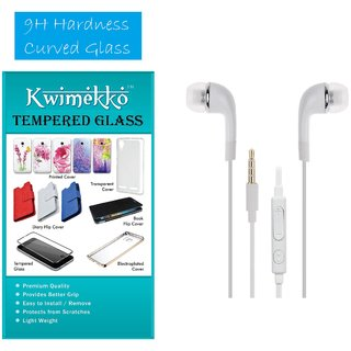 Tempered glass screen protector with 3.5 stereo earphone combo in WHITE for Micromax Q333