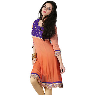 Fabdeal Orange Colored Velvet Kurti