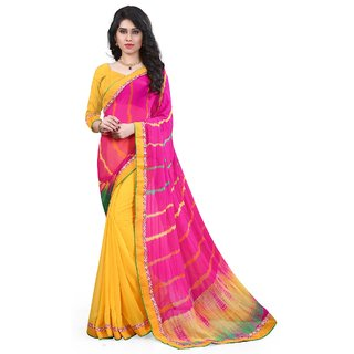 Aagaman Fashion Classy Yellow Colored Printed Chiffon Georgette Saree 1512