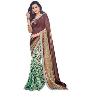 Aagaman Fashion Nice-looking Green Colored Printed Georgette Net Saree 624
