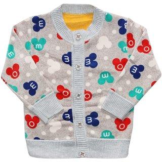 Wonderkids Full Sleeves Sweater Multi Design - Gray