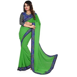Vachya Green And Blue 60 Gram Georgette Stone Worked Saree-7557