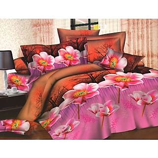 Homefab India 3d Double Bed Sheet With 2 Pillows Cover (DREAMS037)