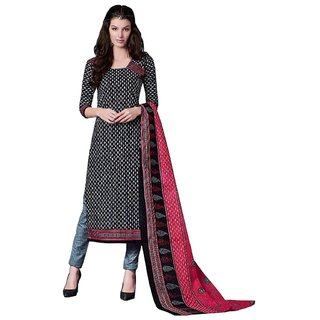 PADMiNi Unstitched Dress Materials Black