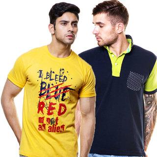 Enquotism Men's Multicolor Round Neck T-Shirt (Pack of 2)
