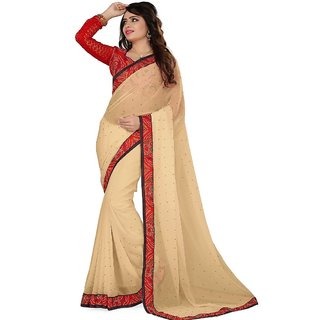 Vachya Beige And Red 60 Gram Georgette Stone Worked Saree-7561