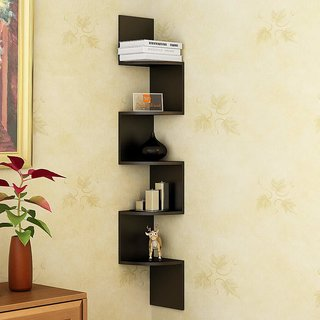Driftingwood Zigzag Shaped Wall Mount Corner Shelves Black Laminated