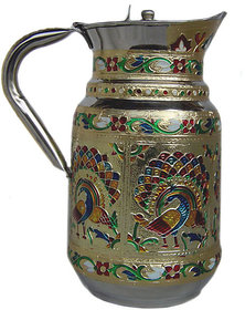 Indian Fine Stainless Steel water Pitcher Meenakari decorative Jug Drink ware