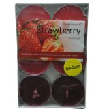 "Terro Art Strawberry Flavaur New Tealights Candles Set Of 6Pcs Dia 2.25"" Td-1962"