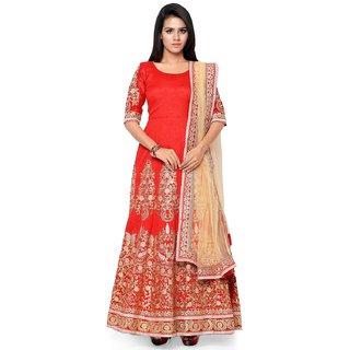 Thankar Orange  Cream Embroidered Banglori Dhupian Anarkali Suit