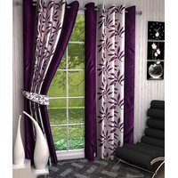 HT Home Multicolour Printed Polyester Eyelet Long Door Curtains Set Of 2