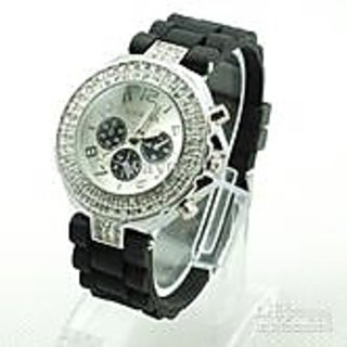 Double Diamond Black Watch For Women Silicone Strap Shiny 3 Eyes Watch