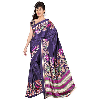 DesiButik's  Violet Crepe Saree with Blouse VSM1108N