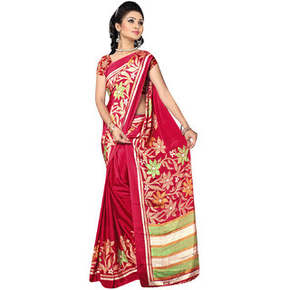 DesiButiks Maroon Crepe Printed Saree With Blouse