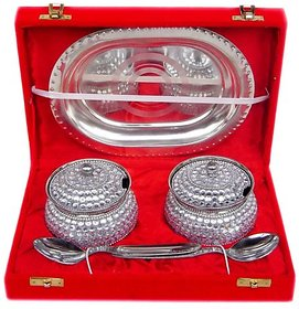 Decorative Two Bowl Tray Serving Set with capacity of 200 ml each