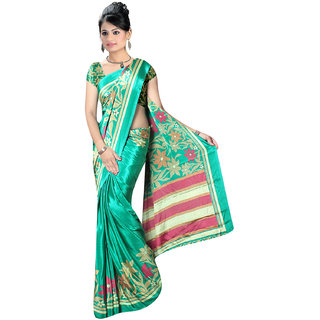 DesiButik's  Green Crepe Saree with Blouse VSM1117N