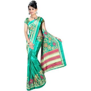 DesiButiks Green Crepe Printed Saree With Blouse