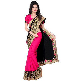 Aaina Black With Pink Georgette Embroidered Saree With Blouse    (FL-Divyanka)
