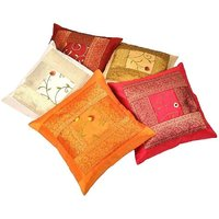 Little India Zari Hand Embroidery Work Silk 5 Piece Cushion Cover Set Multicolor