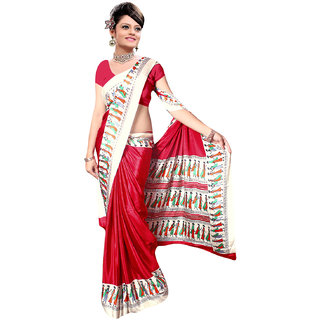 DesiButiks Red Crepe Embroidered Saree With Blouse