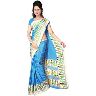 DesiButiks Blue Crepe Printed Saree With Blouse