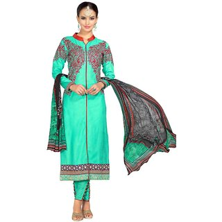 Swaron Green Glace Cotton Embroidered Party Wear Dress Material 374D4018