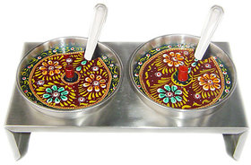 Stainless Steel Decorated bowl with lid and spoon FOR SERVING