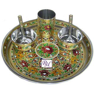 Dinnerware Set of Stainless Steel MeenaKari Worked 2 Bowls 2 Spoon 1 Glass 1Tray