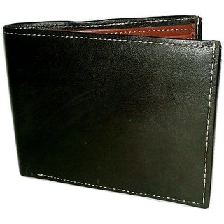 black pure leather men wallet