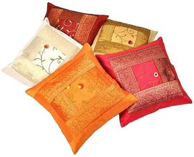 Little India Zari Hand Embroidery Work Silk 5 Piece Cushion Cover Set Multicolor